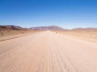 Typical gravel road in Namibia.