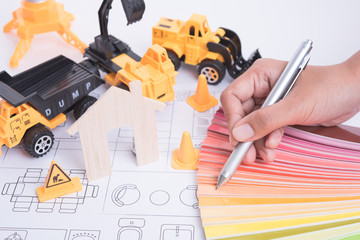 home with color scheme paper and business construction industry