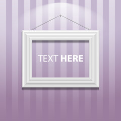 White classic frame on the wall. Vector Illustration