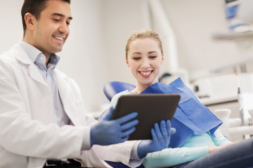 male dentist with tablet pc and woman patient