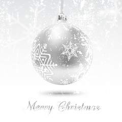 Christmas card with silver ball in white background, vector illustration. Snow flakes texture can be removed to have a clean decorated bauble