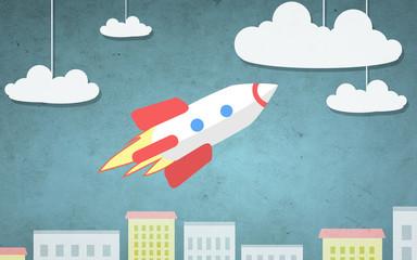 cartoon illustration of rocket flying above city