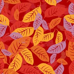 Autumn fallen leaves seamless pattern background
