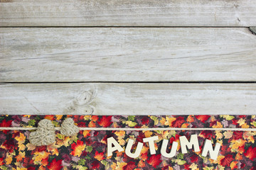 Blank wood sign with fall decorations