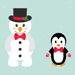 cartoon snowman and penguin with tie