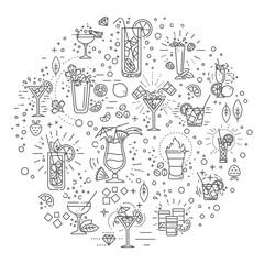 Cocktails concept illustration, thin line flat design