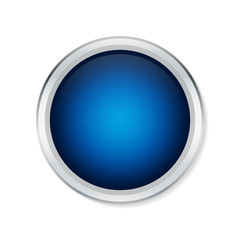 Blue round button with metallic border - Vector