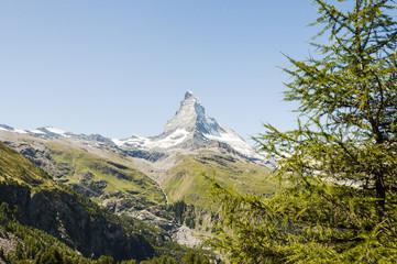 Zermatt, Bergdorf, Alpen, Furi, Trockener Steg, Zmutt, Zmuttgletscher, Matterhorn, Schweizer Berge, Wanderweg, Wallis, Schweiz