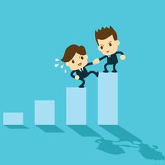 businessman help each other to climb up bar graph