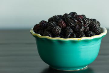 Bowl of black rasberries