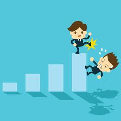 businessman betrayed falling bar graph