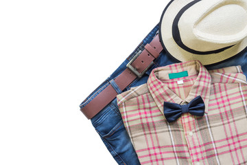 Men's casual outfits with jeans, hat and brown plaid shirt, flat lay, top view isolated on white background