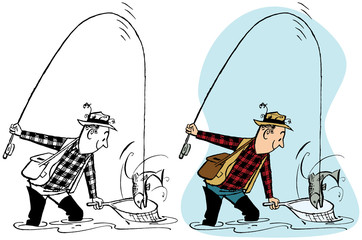 Man fishing and catching a fish in a net