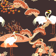Chinese seamless pattern with pine trees and cranes. Vector.
