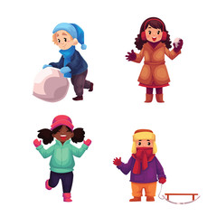 Set of kids enjoying winter, cartoon vector illustration isolated in white background. Collection of girls and boys making snowman, playing snowballs, riding sledge, having fun in winter