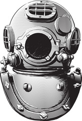 detail of an old diving suit heavy brass helmet