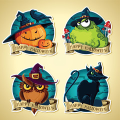 Set of Halloween vintage vector labels with pumpkins, toad, owl and black cat