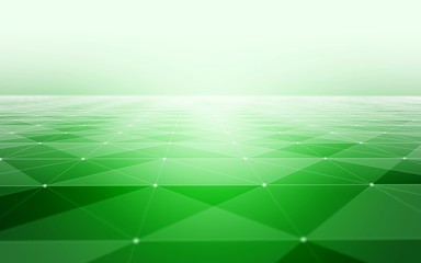Abstract Polygonal Space Green Background with Low Poly Connecting Dots and Lines - Connection Structure - Futuristic HUD Background
