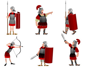 Six roman warriors
