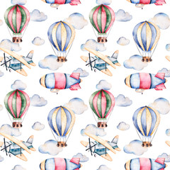 Seamless pattern with air balloons,airship,clouds and the plane in pastel colors.Watercolor air ballons beautifully decorated on white background and other aircrafts.Perfect for wallpaper