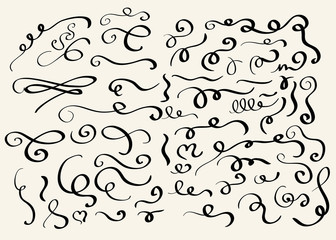 Decorative hand drawn swirl elements vector
