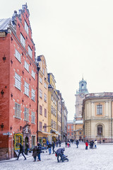 views of Stortorget Square during a snowstorm . Stockholm, Swede
