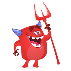 Cute devil monster with trident.  Vector cartoon