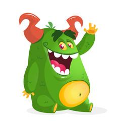 Cartoon green fat monster. Vector character