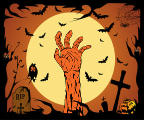 Happy Halloween background with human hand and grave