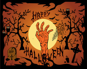 Happy Halloween background with human hand and castle