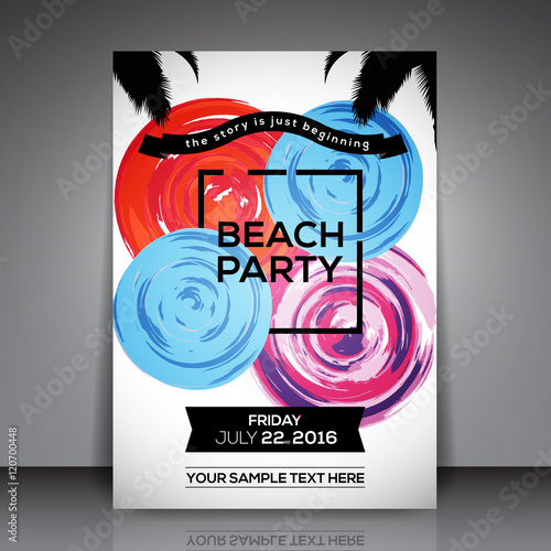 beach party flyer template vector background stock image and