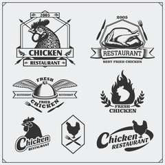 Collection of Fried Chicken meat labels, badges, emblems and design elements.
