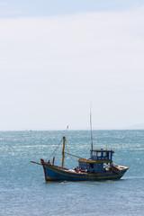 nautical fishing coracles on sea, tribal boats at fishing