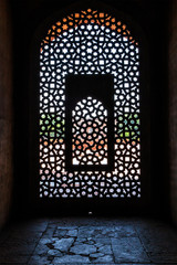 Foto op Canvas Delhi Marble carved screen window at Humayun's Tomb, Delhi