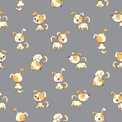 Seamless pattern with cute cartoon dogs on gray background. Little puppies. Funny animals. Vector contour colorful image. Children's illustration.