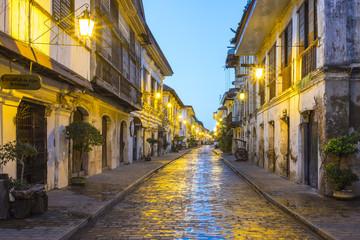 Calle Crisologo at dawn, Vigan City, Ilocos Sur, Ilocos Region, Philippines