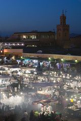 Morocco, Marrakech, Djemma el-Fna Square Food Stands