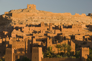 Morocco, South of the High Atlas, Ait Benhaddpu, Dawn Light on the Kasbah / Site of film shoots and most complete Kasbah in the area