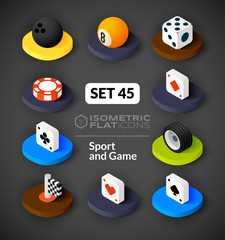 Isometric flat icons set 45