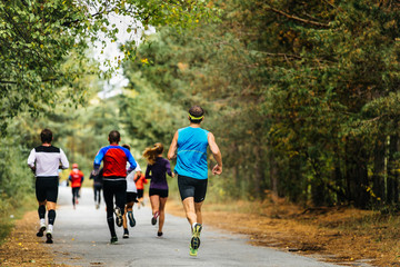 Fototapete - group young athletes running in autumn woods. yellow leaves on ground
