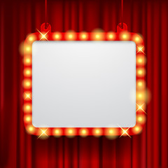 Shining party banner on red curtain background