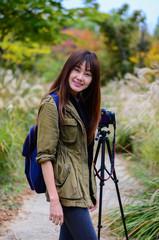 A beautiful asian girl travelling.