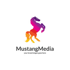 Media horse logo. Polygonal logo. Easy to edit change size, color and text.