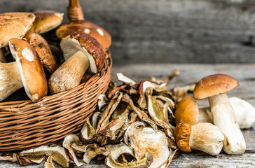 Dried mushrooms and fresh harvested porcini mushroom in a basket