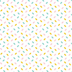 Cute pink, mint green and gold confetti seamless pattern background.