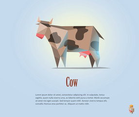 Vector polygonal illustration of black and white cow with milk