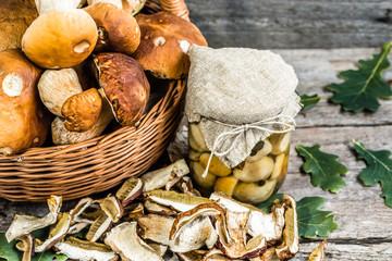 Autumnal mushrooms preserves, dry mushroom and  boletus marinate