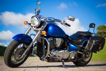 beautiful retro motorbike standing on the road