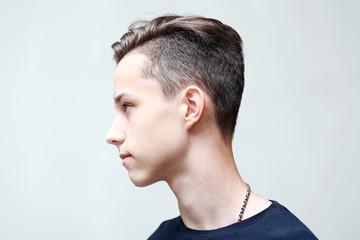 Young fashion man profile face