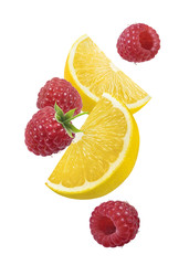 Lemon raspberry falling vertical composition isolated on white background
